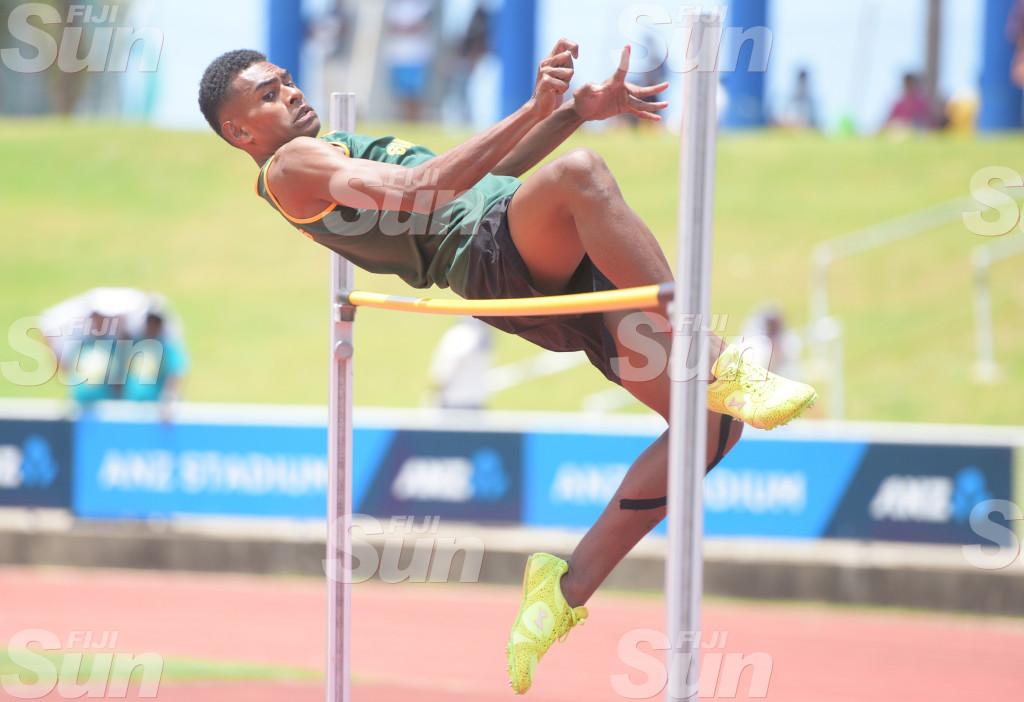 Jekesoni Logaivau of RSMS during Suva Zone 1 day 2 senior boy high jump final at ANZ Stadium on February 2020. Photo: Ronald Kumar.