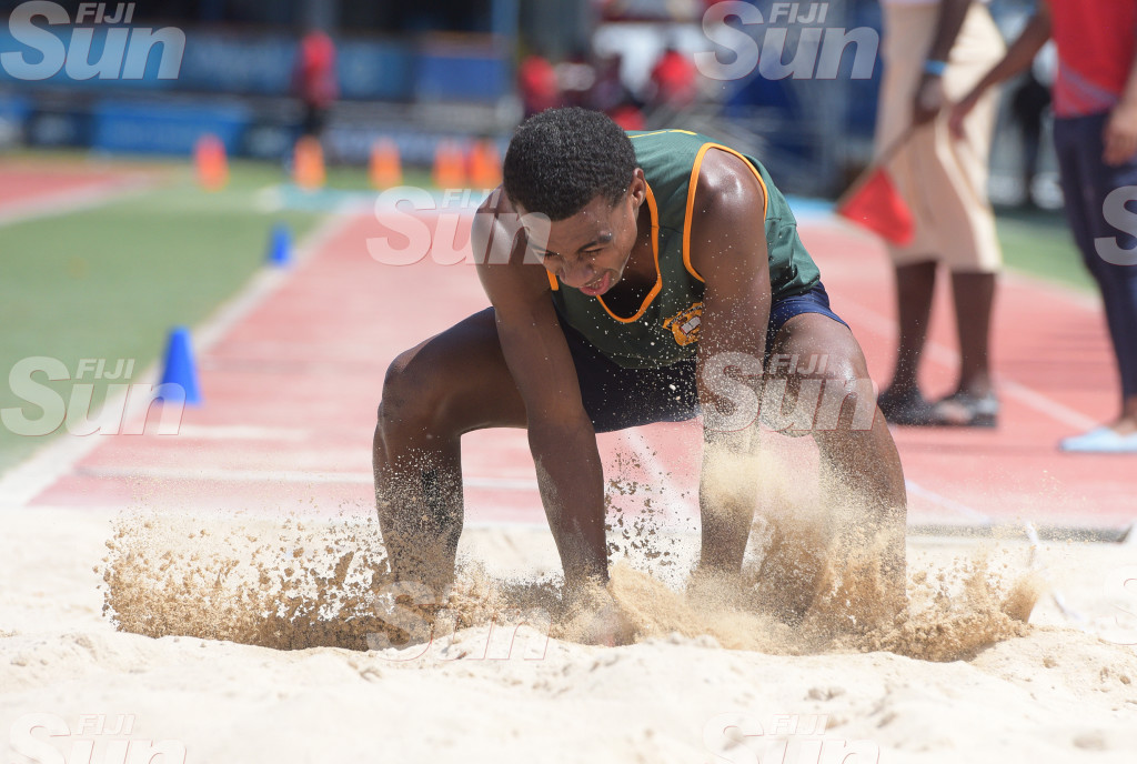 Anare Nayate of RSMS during senior boys high jump  at ANZ Stadium . Photo: Ronald Kumar.