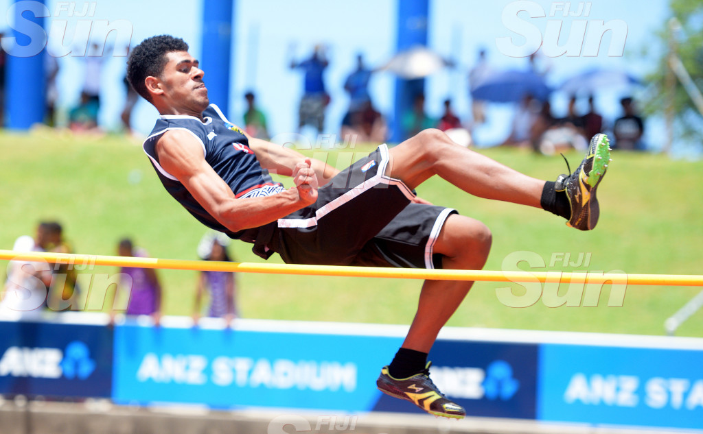 Ravai Kameli of Suva Christian during Suva Zone 1 senior boys hhigh jump final at ANZ Stadium on February 2020. Photo: Ronald Kumar.