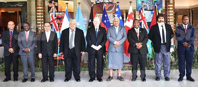 From left: Federated States of Micronesia Embassy Charge D'Affaires Wilson Waguk, Solomon Islands Minister for Foreign Affairs Jeremiah Manele, Deputy Prime Minister of Tuvalu Minute Alapati Taupo, Samoan Prime Minister Tuilaepa Lupesoliai Sailele Malielegaoi, Israeli President Reuven Rivlin, our Prime Minister Voreqe Bainimarama, Prime Minister of Papua New Guinea James Marape, Deputy Prime Minister of Tonga Vuna Fa'otusia, Minister for Internal Affairs of Vanuatu Andrew Solomon Napuat at the Pullman Nadi Bay Resort and Spa on February 20, 2020. Photo: Waisea Nasokia