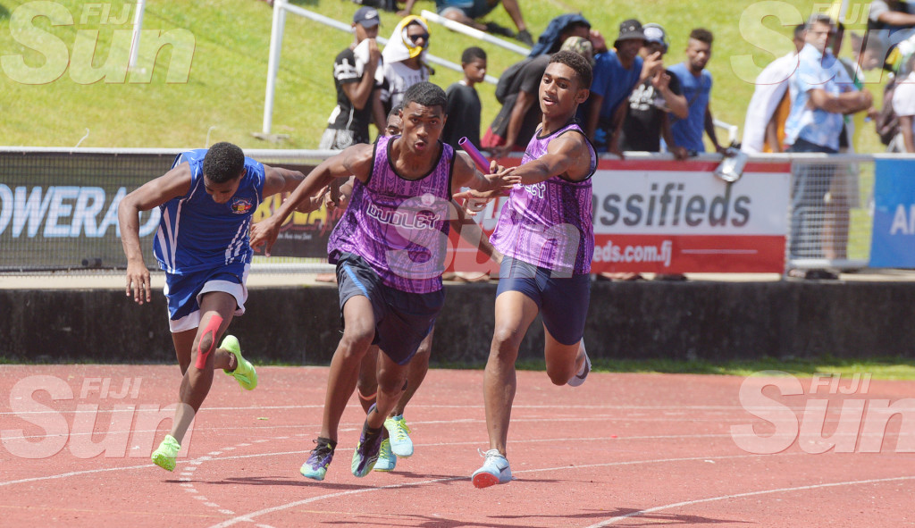 Inter-boys 4x1 relay action at ANZ Stadium . Photo: Ronald Kumar.