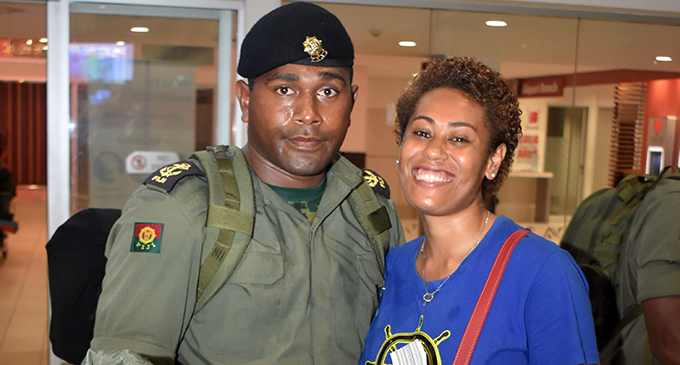 Able-seaman Joseva Delai with wife Raijieli Delai at Nadi International Airport on Wednesday night. Photo: Waisea Nasokia