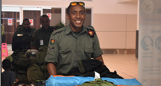 Corporal Rokosuka Dumaru at Nadi International Airport on Wednesday night. Photo: Waisea Nasokia