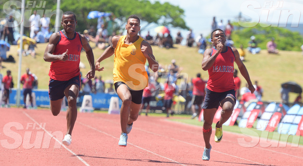 Tevita Sokiveta (middle) of Suva won the Suva Zone 2 100meters senior boys final at ANZ Stadiumon March 4, 2020. Photo: Ronald KUmar.