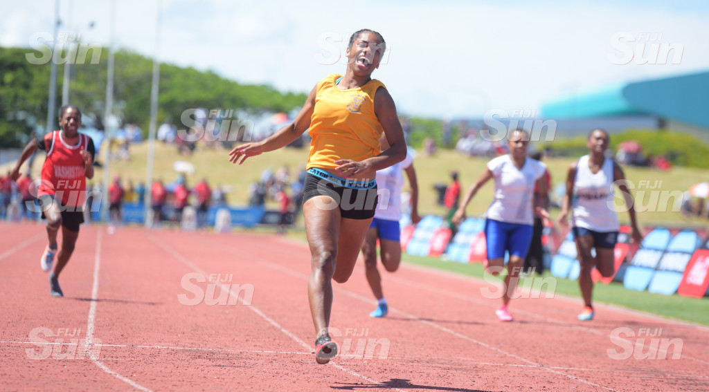 Salote Baravilala of Suva Grammar  celebrate her 100meters senior- girls 100 meters final win during during  Suva Zone 2  at ANZ Stadiumon March 4, 2020. Photo: Ronald KUmar.