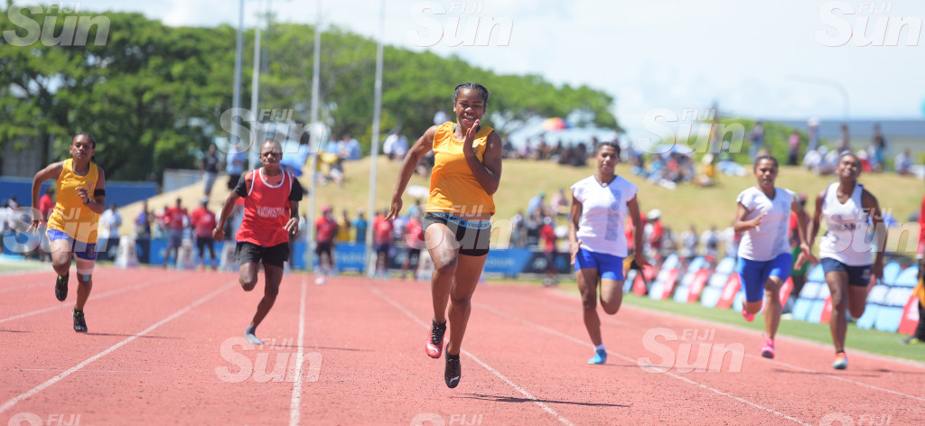 Salote Baravilala ( third from left)of Suva Grammar  celebrate her 100meters senior- girls 100 meters final win during during  Suva Zone 2  at ANZ Stadiumon March 4, 2020. Photo: Ronald KUmar.