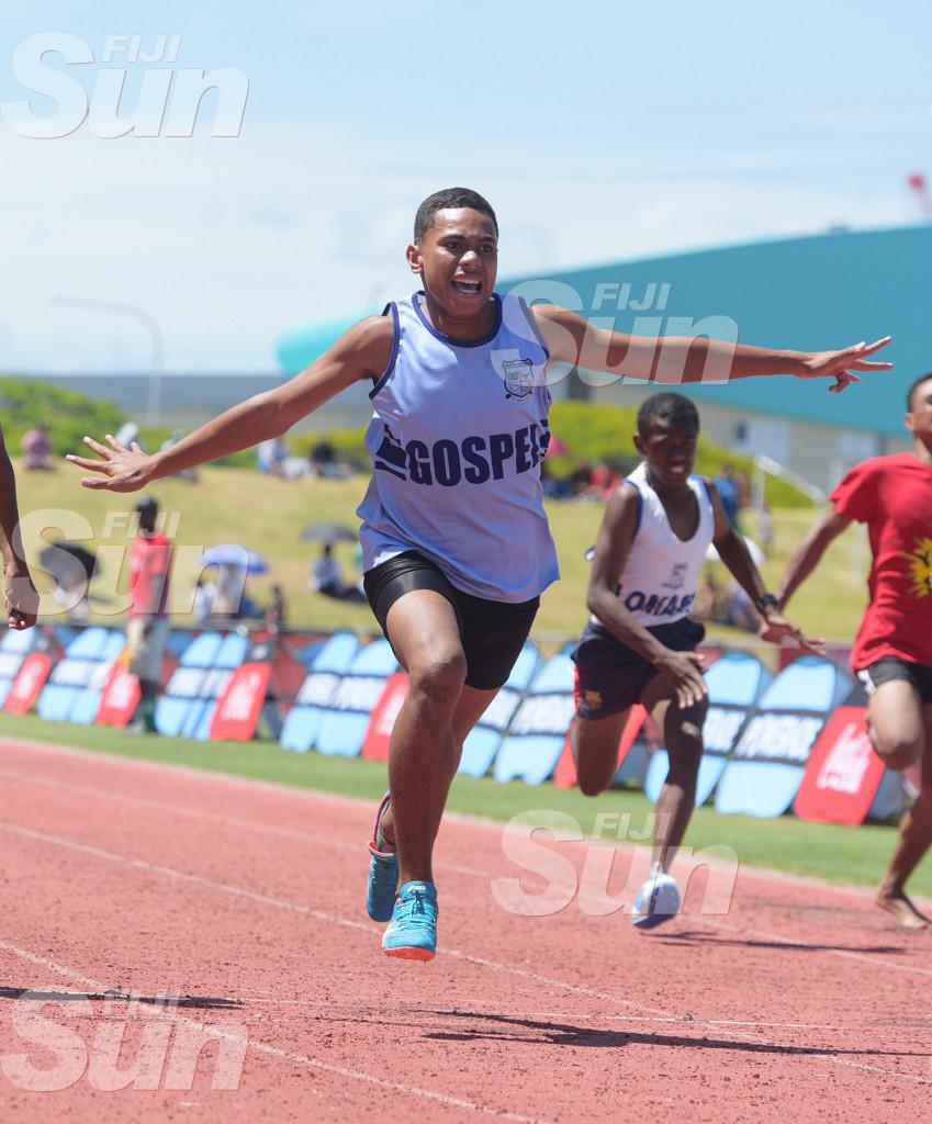 Jerad Chute of ospel High School celebrte junior boys  100meters final during  Suva Zone 2  at ANZ Stadiumon March 4, 2020. Photo: Ronald KUmar.