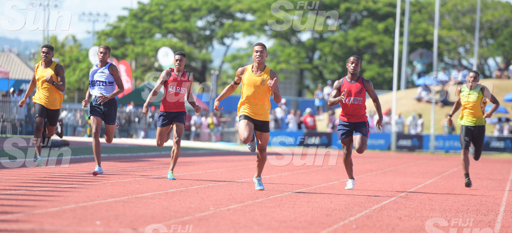 Tevita Sokiveta of Suva Grammar (fourth from left) won the senior boys 200meters final  Photo: Ronald KUmar.