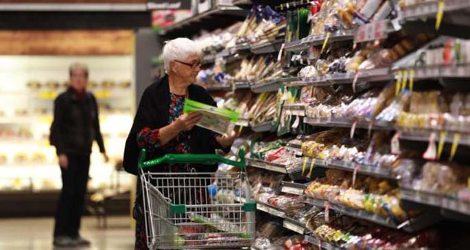 Photo taken on March 17, 2020 shows the seniors shopping at a Woolworths supermarket in Canberra, Australia. (Xinhua/Chu Chen)