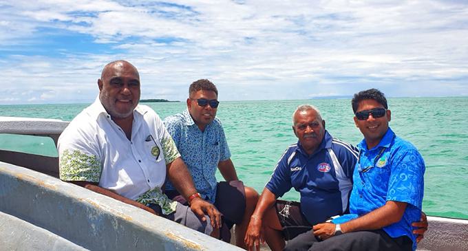 Minister for Fisheries Semi Koroilavesau with government officials at the seaweed farming in Kiuva, Tailevu.  Photo: Ministry of Fisheries
