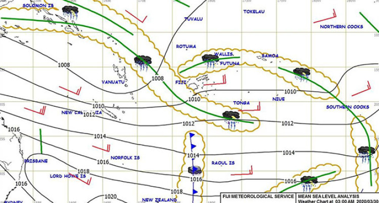 Weather: Low Pressure Slow Moving Southwest Of Fiji