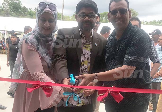From left: Acting Prime Minister and Attorney-General Aiyaz Sayed-Khaiyum (centre) with Western Homes Limited's managing director Bobby Khan (right) and his wife Rukshana Begum (left) during the opening of the Cuvu Shoping Complex on March 7, 2020. Photo: Charles Chambers