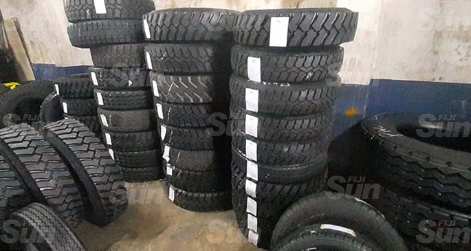 Retread tyres in stock at Fiji Bandag Pte Ltd. Photo: Lusiana Tuimaisala