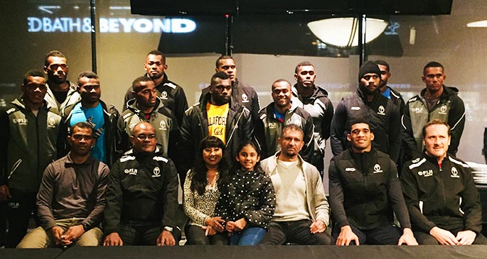 Fiji Honourary Consul in Canada Bobby Naicker (front, fifth from left) with our national 7s players and officials after dinner on March 4, 2020. Photo: Subramani Reddy