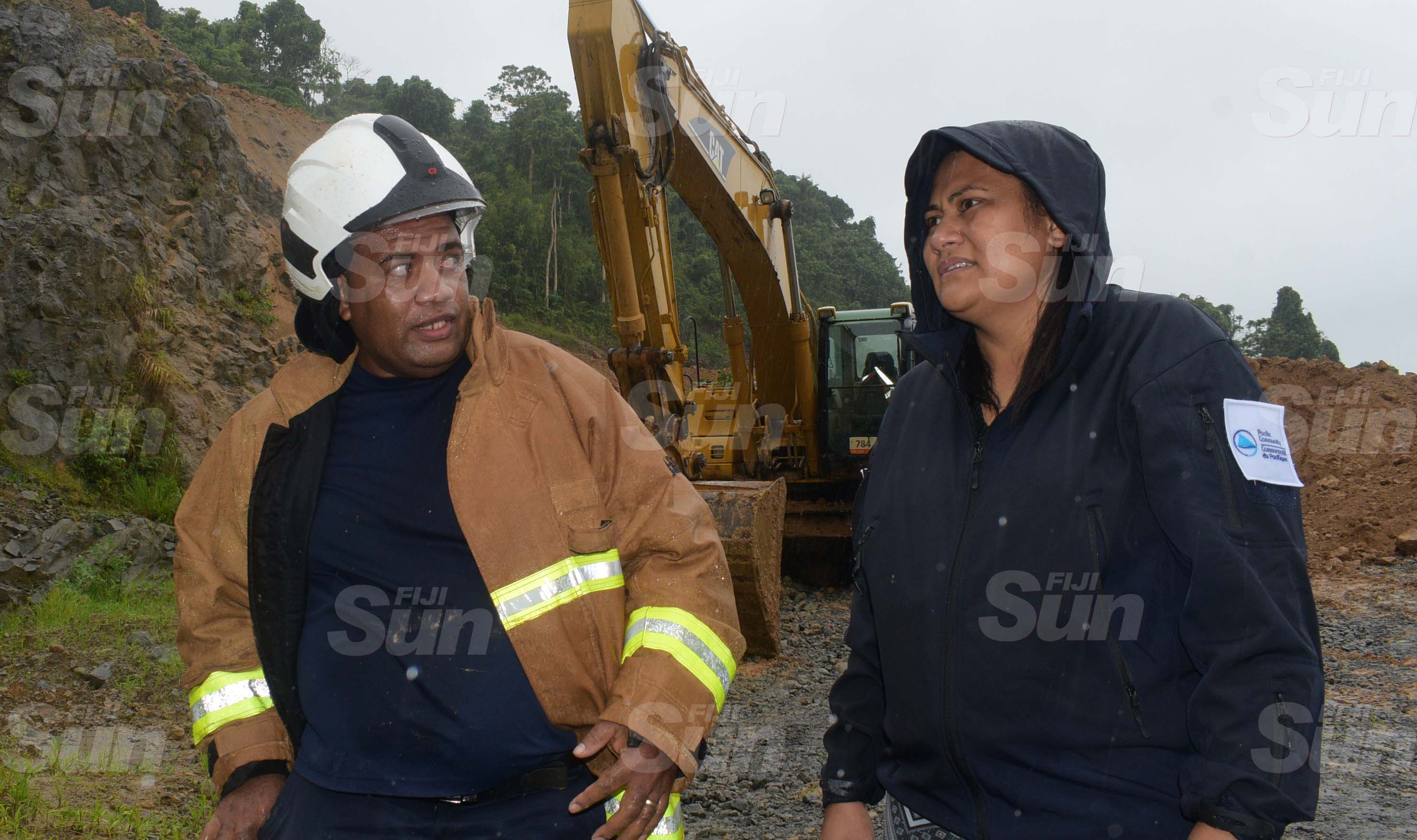 National Fire Authority Navua station officer, Vetaia Bogi (left) and Director NDMO, Vasiti Soko at Mau Quarry landslide site on March 20, 2020. Photo: Ronald Kumar.