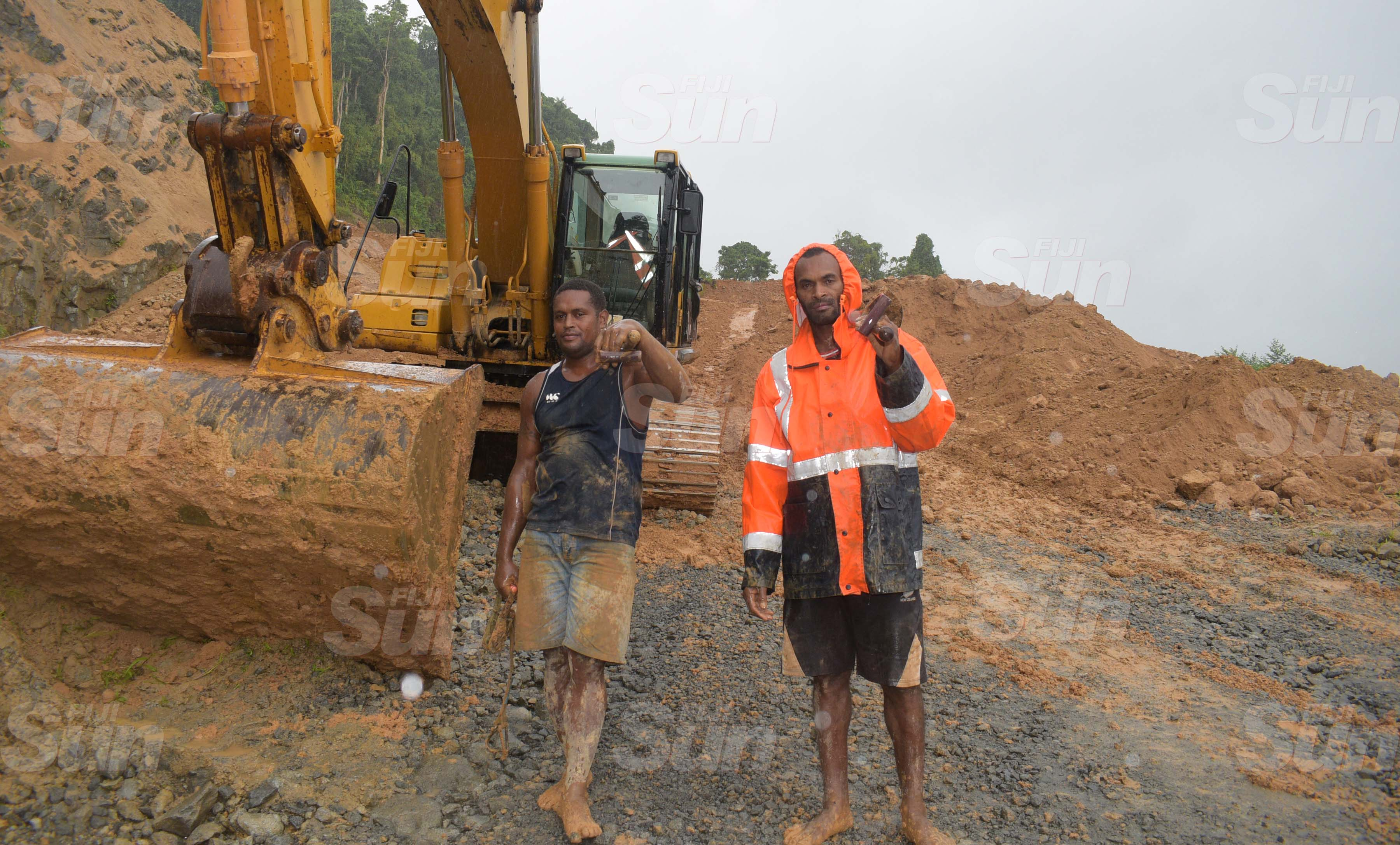 Mau Villagers, Josateki Kulitaqane (left) and Epeli Drigitibau assisted the search party with the recovery of the two body while the third is still missing at Mau  Quarry site following a landslide on March 20, 2020. Photo: Ronald Kumar.