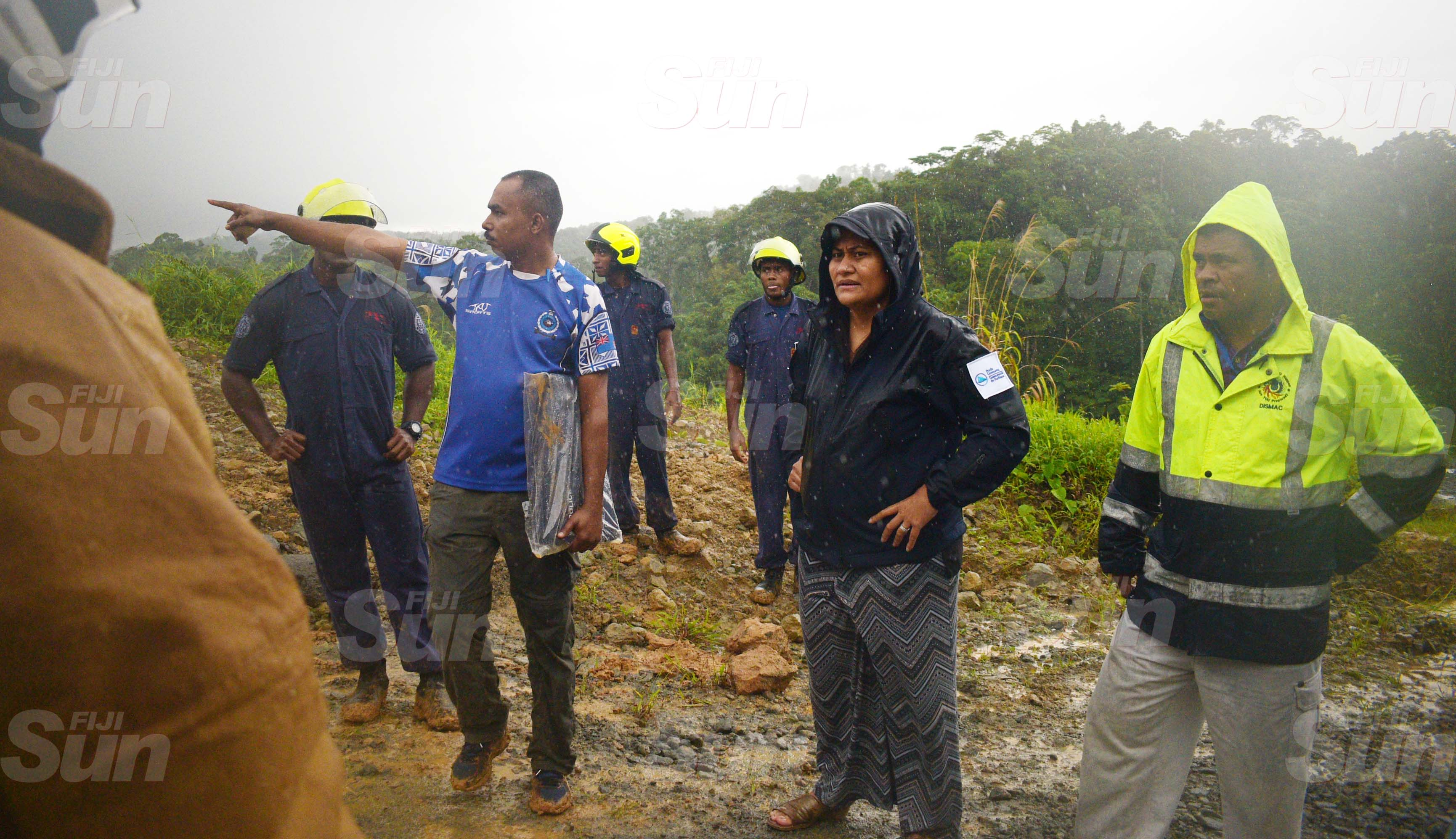 Director NDMO, Vasiti Soko (second from right) with team of Police and National Fire Authority officers at Mau  Quarry site in Navua after landslide claimed three lifes on March 20, 2020. Photo: Ronald Kumar.