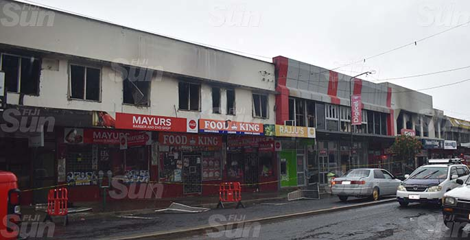 A fire destroyed the top building on the Main Street of Nadi on March 21, 2020. Photo: Mereleki Nai