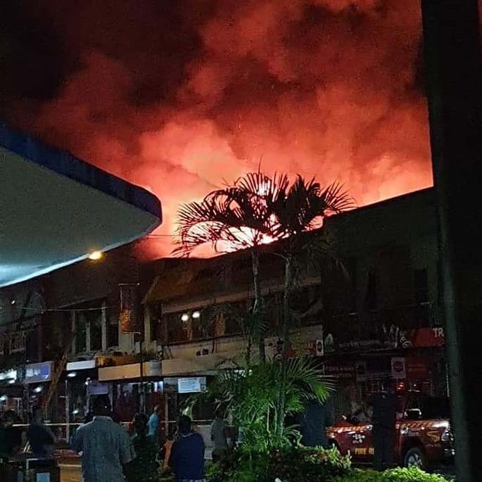 The fire on Friday night. Photo: Harvey Kennedy