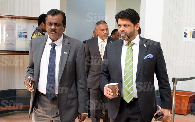 From left-Minister for Sports Praveen Bala, Government MP, Faiyaz Koya and Attorney General and Minister for Economy Aiyaz Sayed-Khaiyum outside Parliament on March 27, 2020. Photo: Ronald Kumar.