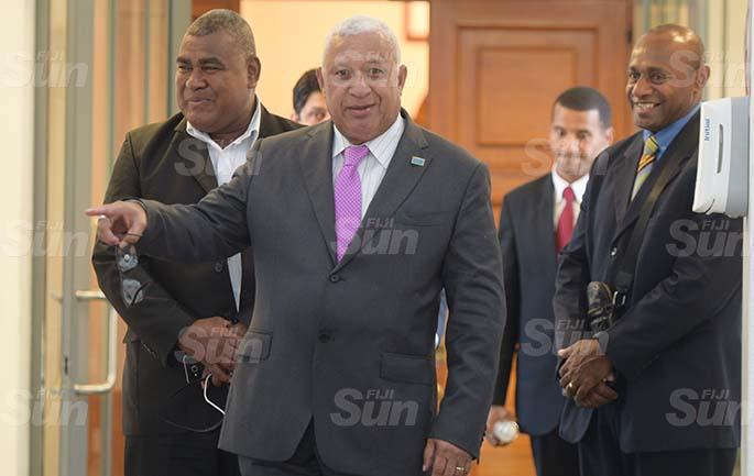Prime Minister Voreqe Bainimarama outside Parliament on March 27, 2020. Photo: Ronald Kumar.