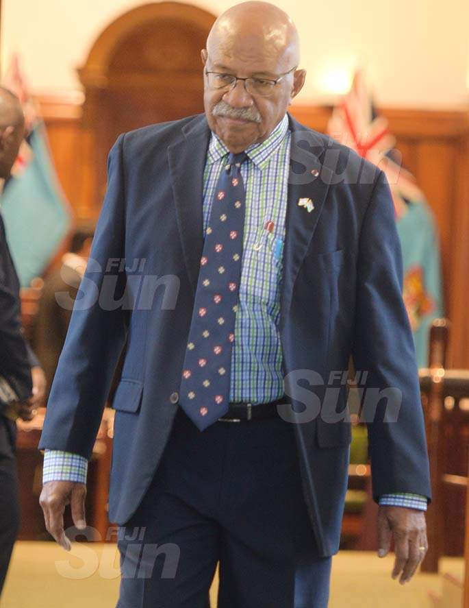 Opposition Leader in Parliament Sitiveni Rabuka outside Parliament on March 27, 2020. Photo: Ronald Kumar