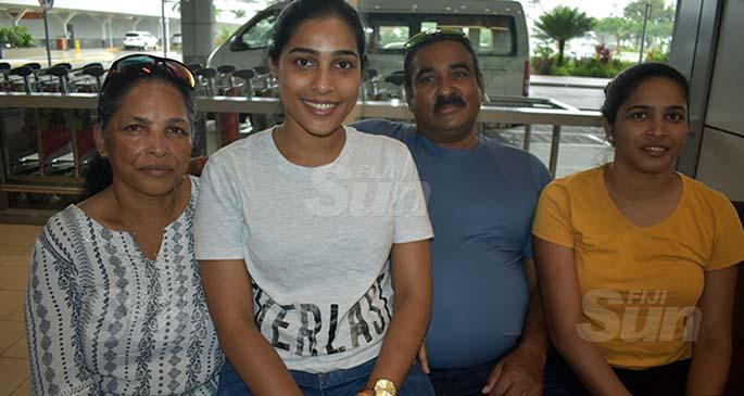 From left: Mala Singh Prasad, Vana Singh, Devendra Prasad and Sheenal Kumar at the Nadi International Airport on March 29, 2020. Photo: Mereleki Nai