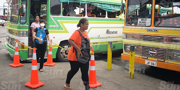 Cones been placed by Suva City Council at the bus stand for people to practice social distancing on March 31, 2020. Photo: Ronald Kumar.