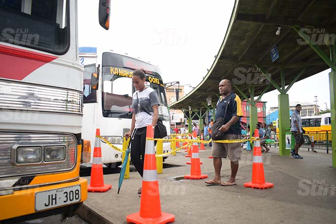 Suva City Council placed cones at the bus stand for people to practice social distancing on March 31, 2020. Photo: Ronald Kumar.