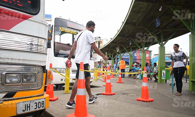 Suva City Council enforcement team have placed cones been placed at the bus stand for people to practice social distancing on March 31, 2020. Photo: Ronald Kumar.