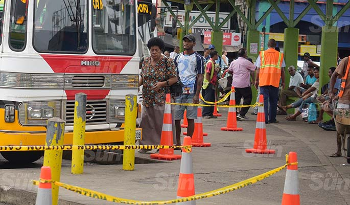 Suva City Council enforcement team have placed cones at the bus stand for people to practice social distancing on March 31, 2020. Photo: Ronald Kumar.