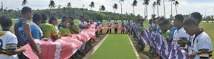 Students from the Southern Zones during the Fiji Secondary Schools cricket launch at QueenVictoria School. Photo: Alex Konrote