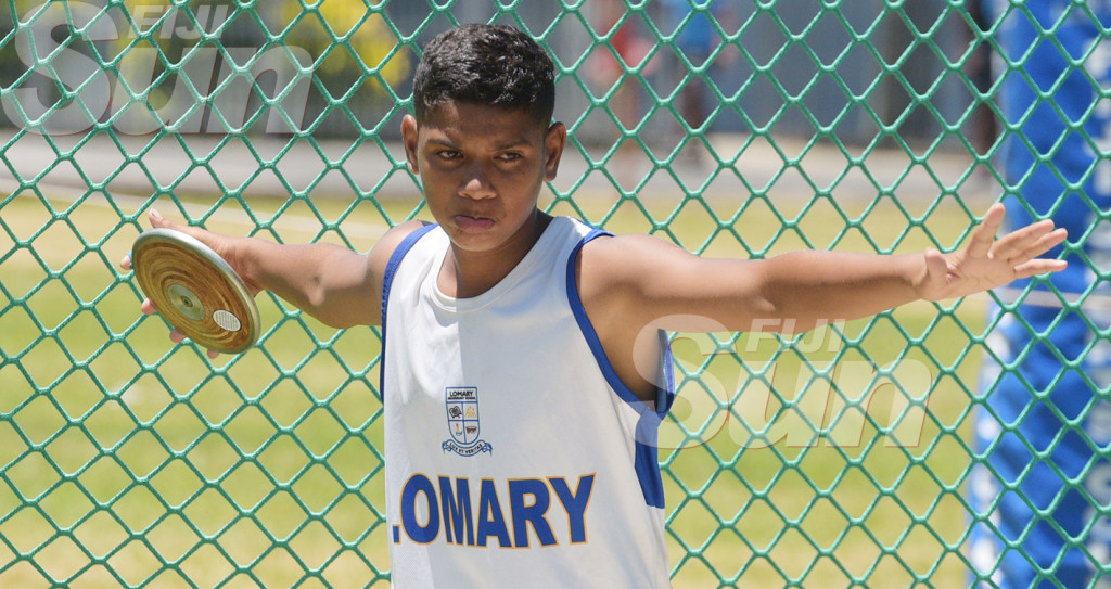 Marasio Lalabalavu of Lonmary Secondary during junior boys duscus throw event. Photo: Ronald Kumar.
