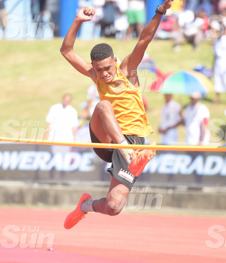 Amena Tave of Suva Grammar clears the bar during inter-girls final at Suva Zone 2  in ANZ Stadiumon March 4, 2020. Photo: Ronald KUmar.
