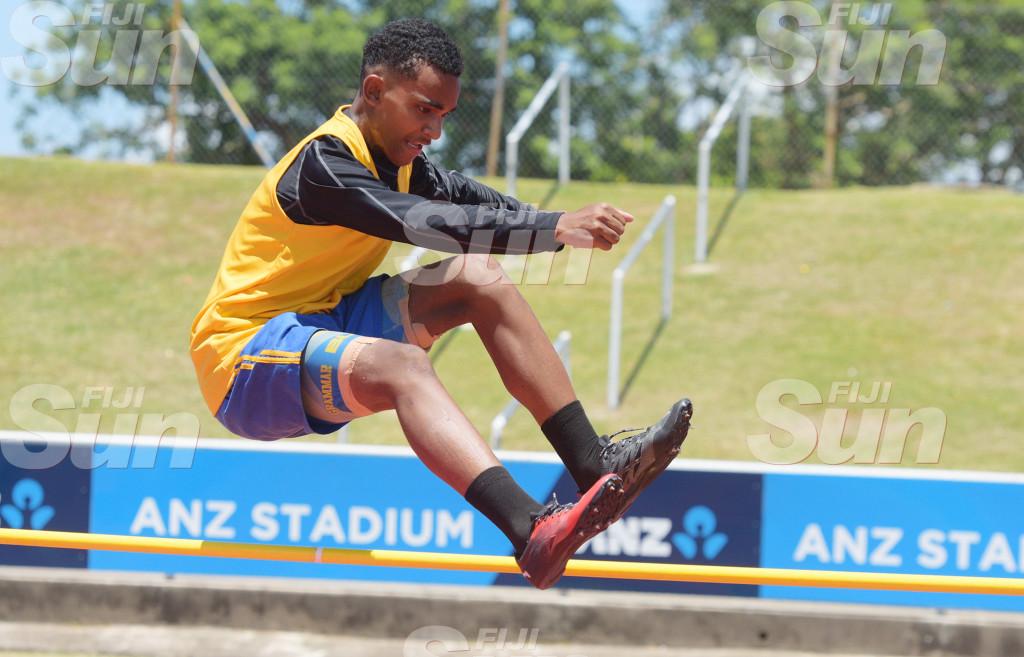 Farasiko Smith of Suva Grammar during Junior Boys High Jump event. Photo: Ronald Kumar.