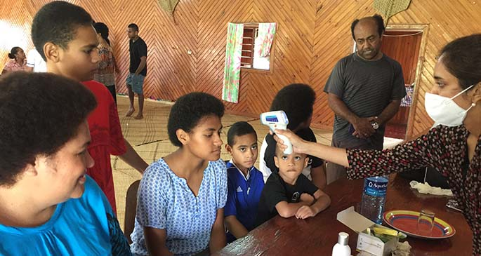 Residents in lautoka getting checked at one of the fever clinics in Lautoka on April 3, 2020. Photo: Nicolette Chambers