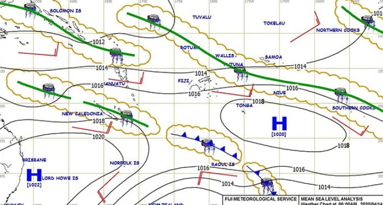 Weather: Weak Trough Of Low Pressure Slow Moving To The North East Of Fiji