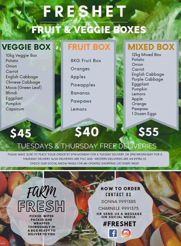 Fresh'et International Ltd now offering fruits and vegetable boxes.