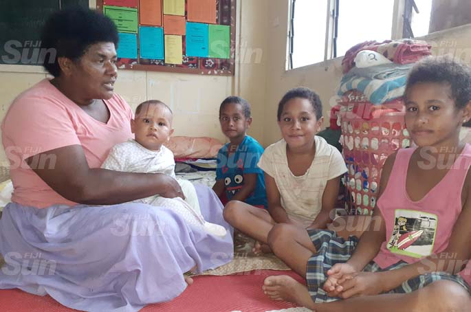 Keasi Bui of Calia Navua took shelter at J n Jokhan Memorial School evecuation centre with her family members on April 8, 2020.. From left are Keasi Biu , 8 mionth old baby Luisa Matadiwa, Apolosi Drekece, Merewalita Mula and Keasi Bui (jr) . Photo: Ronald Kumar.