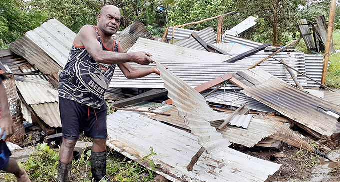 Saveci and family move in the nick of time. Returns to see house blown away... Leone Saveci had just taken his bed-ridden wife and 16-year-old daughter to the The Church of Jesus Christ of Latter-day Saints evacuation centre in Navua. He was to go back and get dinner but found the remains of his home scattered everywhere. Photo: Ronald Kumar