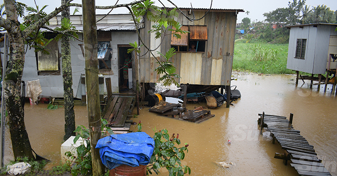 Parts of Navosai settlment in Narere, Nasinu were flooded  due heavy rain in the area on April 28, 2020. Photo: Ronald Kumar.