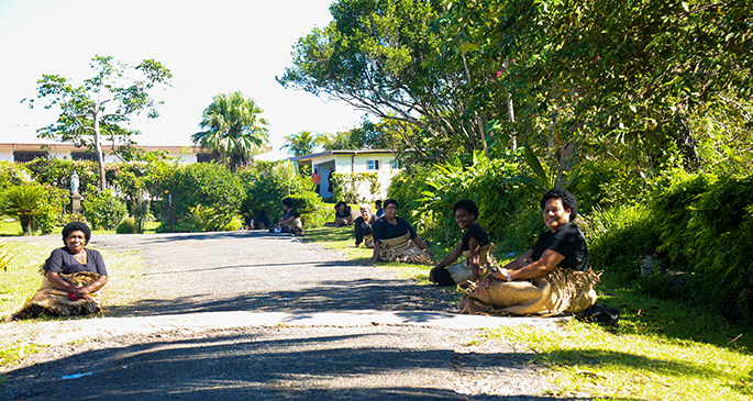 Women of Lau sitting on each side of the road as a show of respect as the body of the late Ratu Alifereti Finau Mara passes by on April 24, 2020. Photo: Kelera Sovasiga