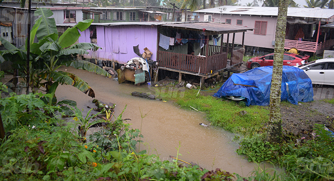 Parts of River Road in Narere, Nasinu were flooded  due heavy rain in the area on April 28, 2020. Photo: Ronald Kumar.