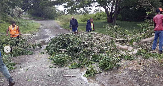 Ministry of Forestry North staff members clearing debris along Malau Road. This is at the old Fiji Forest Industries (FFI) compound near Vuo Village and 15 minutes from Labasa Town. This will be soon used as a COVID-19 isolation centre. Photo: Ministry of Forestry_Fiji, Orisi Baleivatea