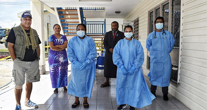 Prime Minister Voreqe Bainimarama and Minister for Health and Medical Services Dr Ifereimi Waqainabete at a fever clinic in Valelevu, Nasinu on April 9, 2020. Photo: Office of the Prime Minister