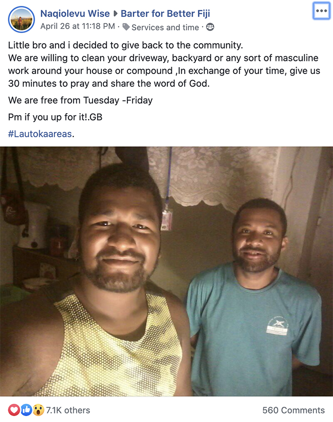 Naqiolevu's post on the Facebook group, Barter for a Better Fiji