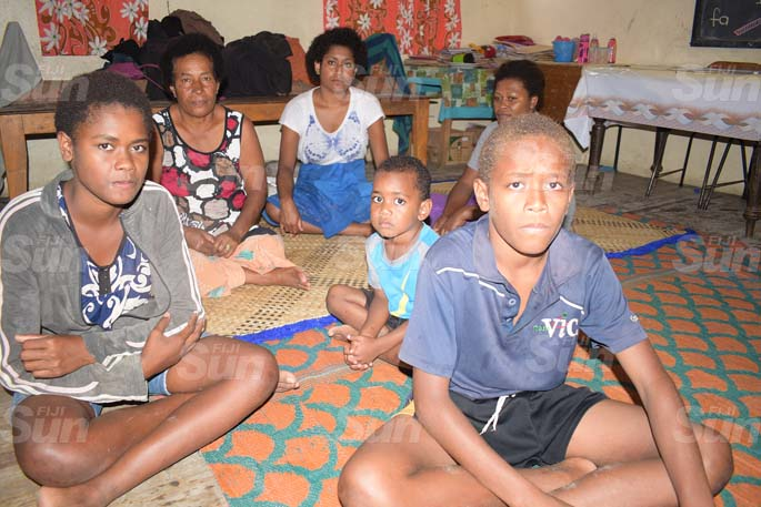 From left- Ilija Tairara, Latila TalavakaruaMaca Nayalu, Merewalesi Radio, SEreli O'connor of Wainavidio Settlment of Navua taking shelter at Vashist Muni Memorial Primary School evecuation centre on April 8, 2020. Photo: Ronald Kumar.