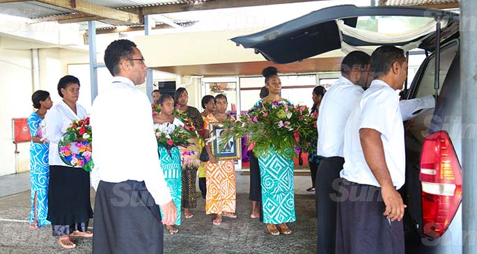 The late Selaima Veisamasama's children and grandchildren at Calvary Temple on April 18, 2020. Photo: Kelera Sovasiga