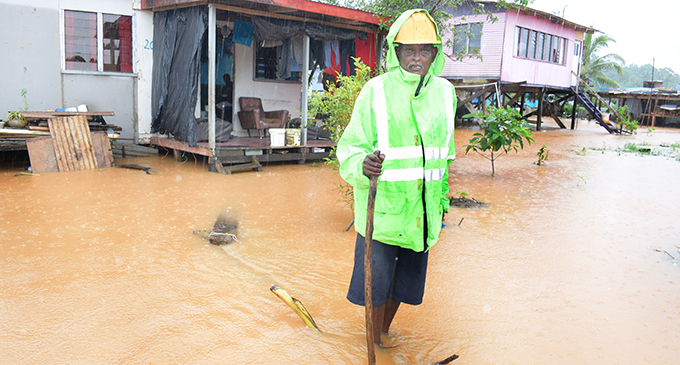 Ram Dhani 67, who was affected by the TC Harold have again suffered from flooding in Waidamudamu settlement on April 29, 2020. Photo: Ronald Kumar.