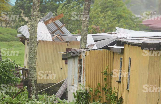 A family of eight of Navua were taken to evecuation centre as the roof of their house collapsed by the strong winds as TC Harold passed by Fiji group on April 8, 2020. Photo: Ronald Kumar.